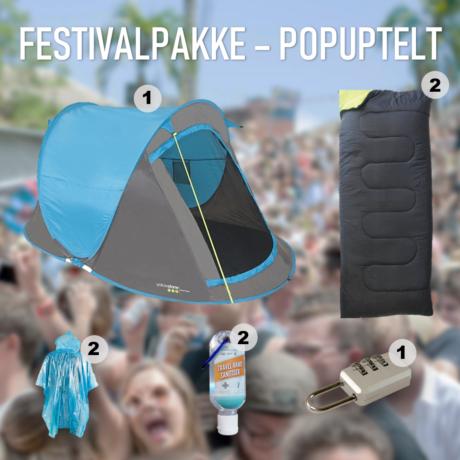 Festivalpakke til 2 personer med popup telt